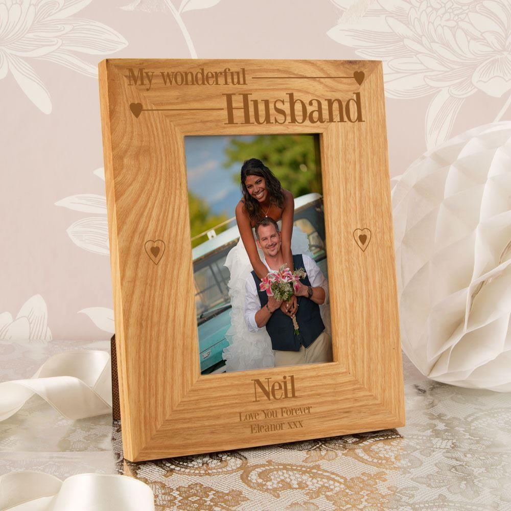 Personalised Wonderful Husband Oak Photo Frame