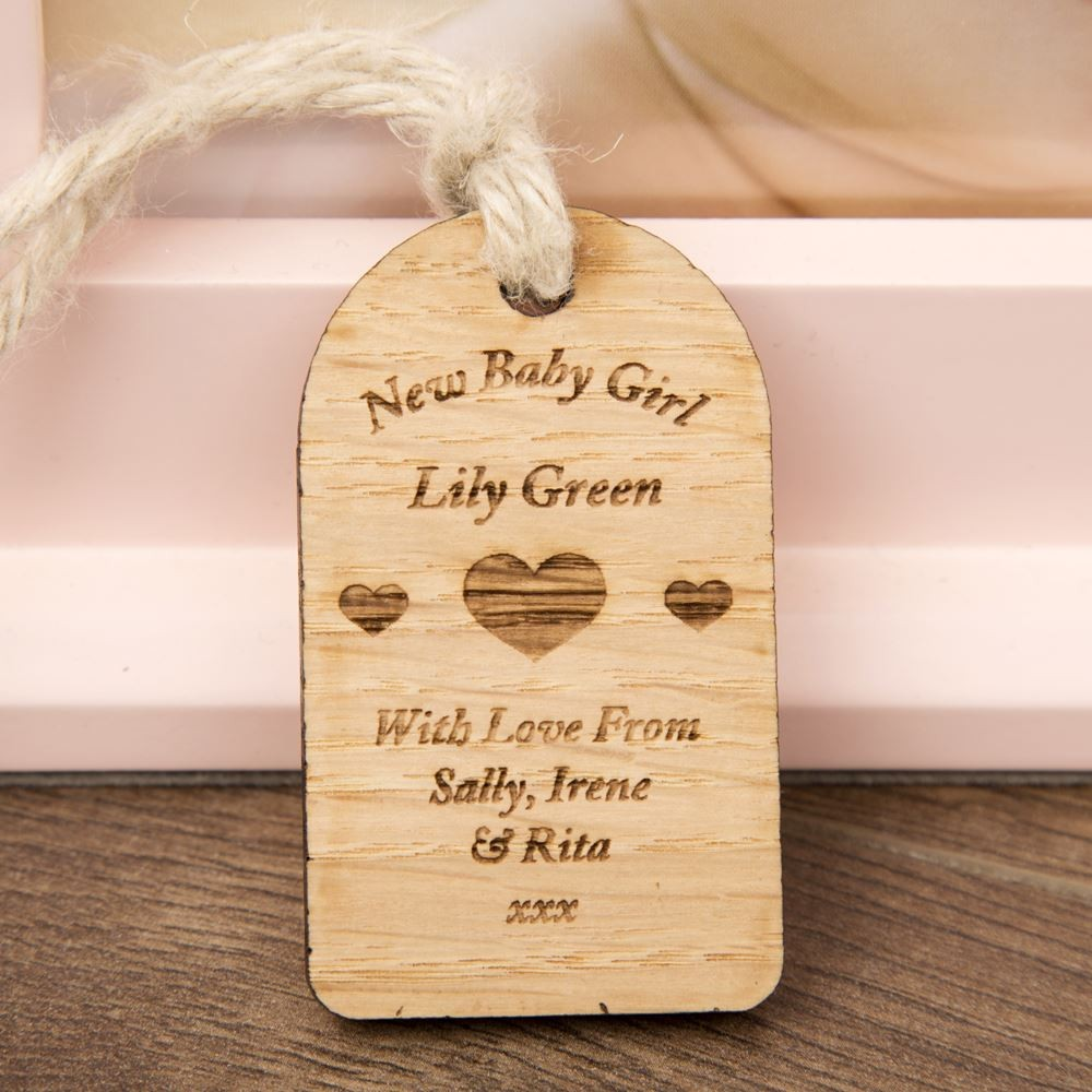 New Baby Girl Wooden Tag