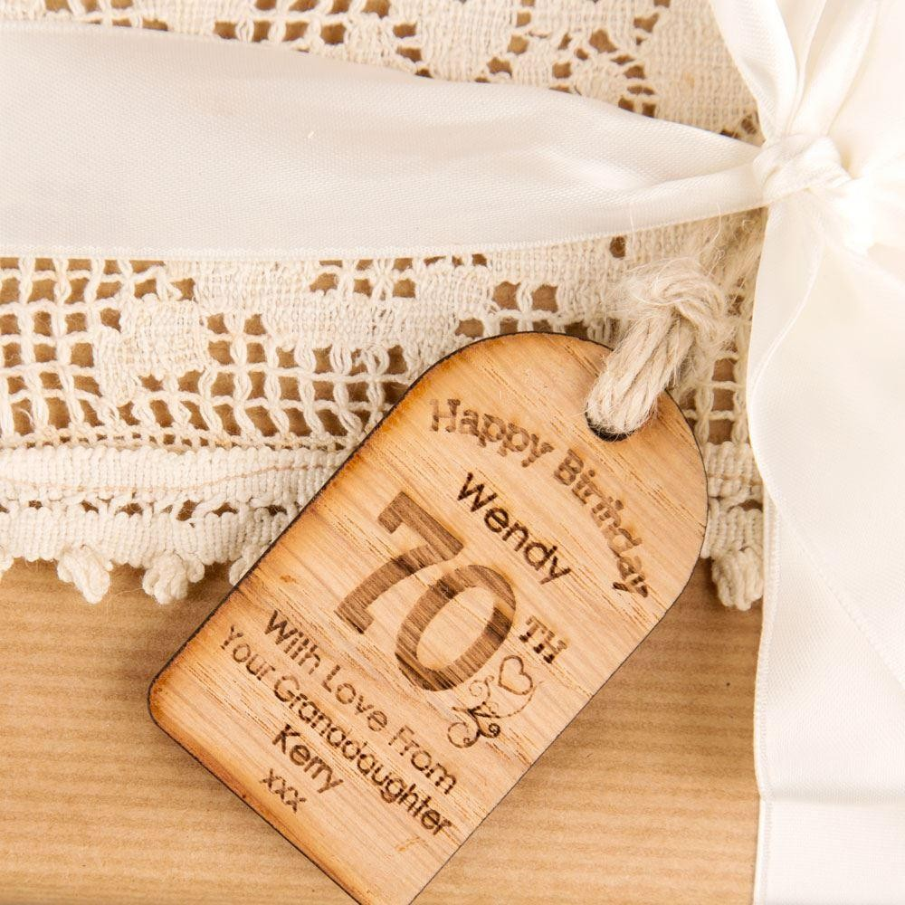 Personalised 70th Birthday Wooden Tag