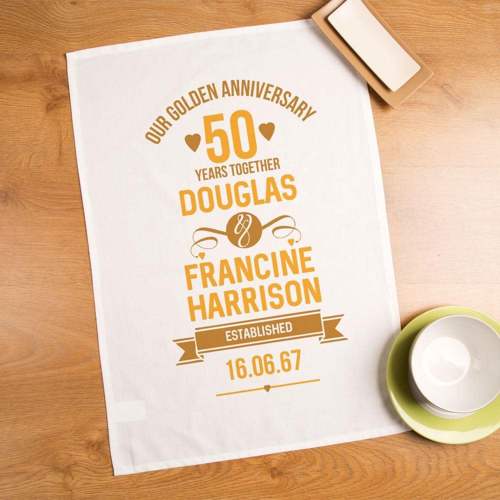 50th Wedding Anniversary Keepsake Tea Towel Forever Bespoke