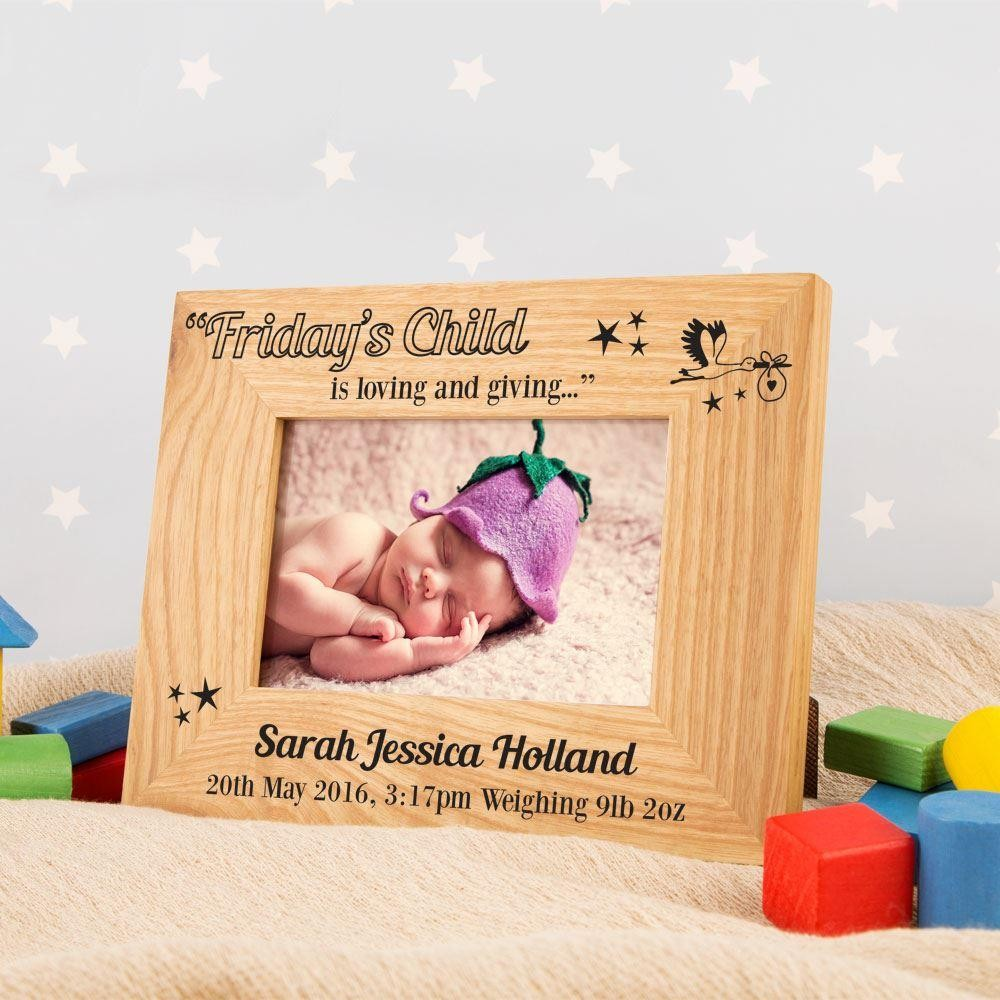 Personalised Fridays Child Oak Photo Frame