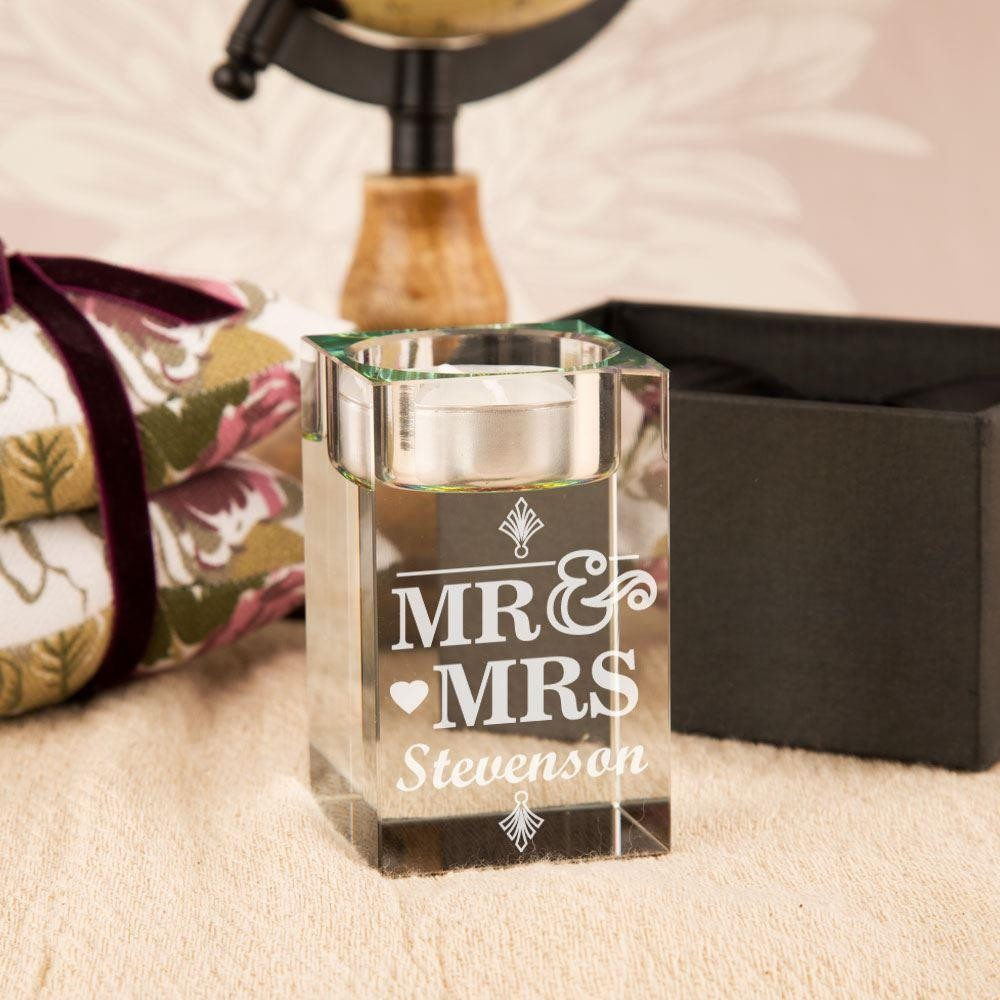 Personalised Mr & Mrs Glass Tealight Holder
