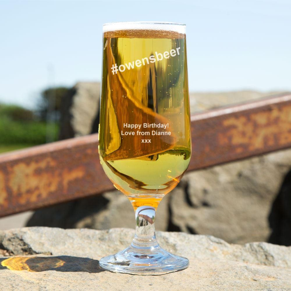 Hashtag Personalised Glass Beer Chalice