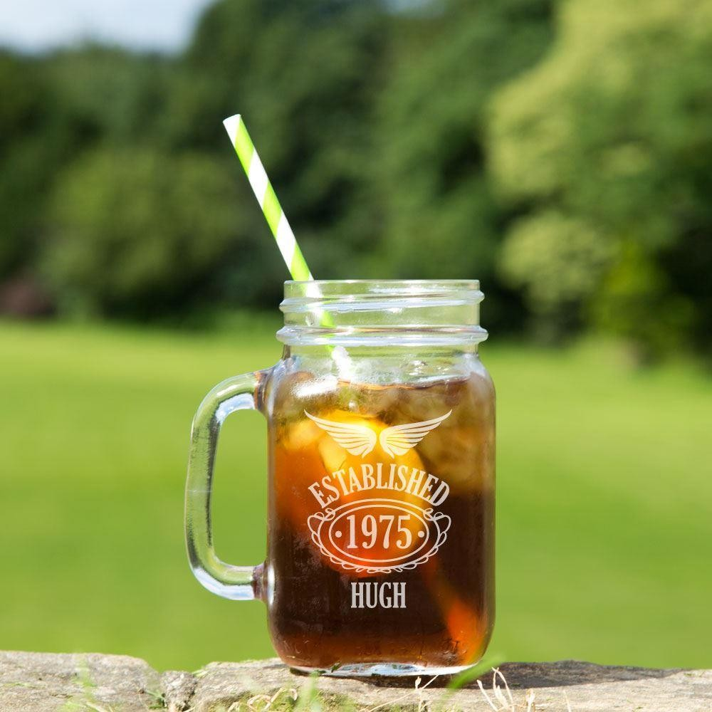 Personalised 40th Birthday Glass Mason Jar