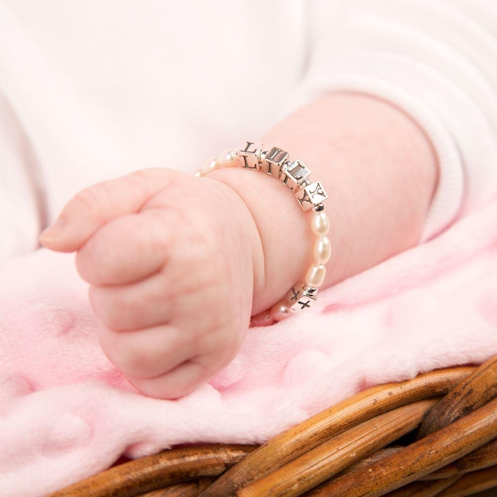 Sterling Silver And Fresh Water Pearl Baby Bracelet