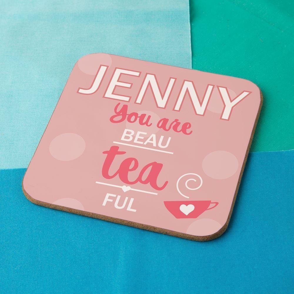 Beau-tea-ful Personalised Drinks Coaster