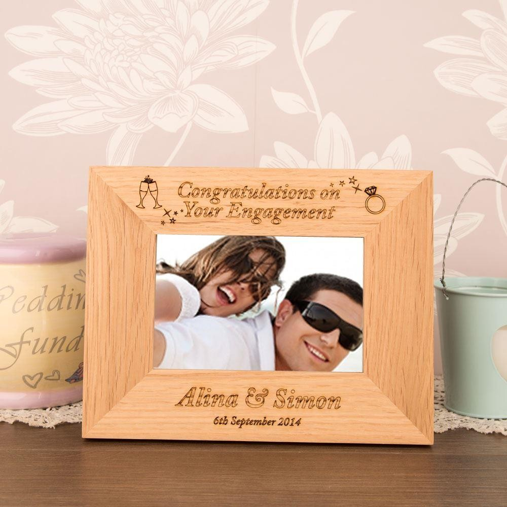 Engraved Engagement Oak Frame