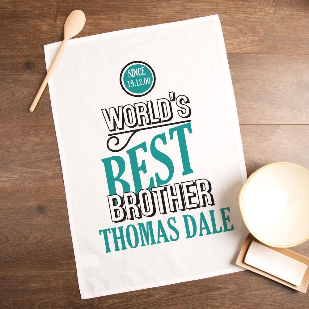 Worlds Best Brother Personalised Printed Tea Towel