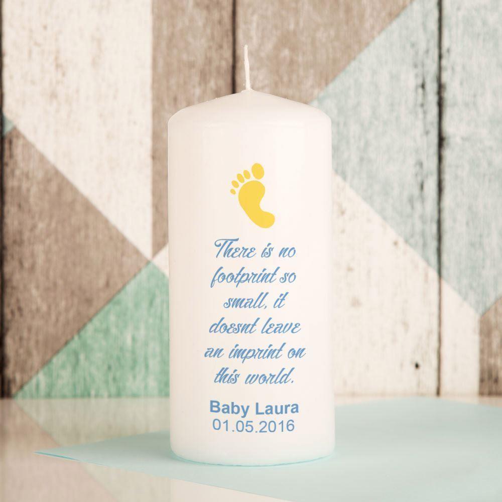 Bespoke Footprint Baby Memorial Pillar Candle