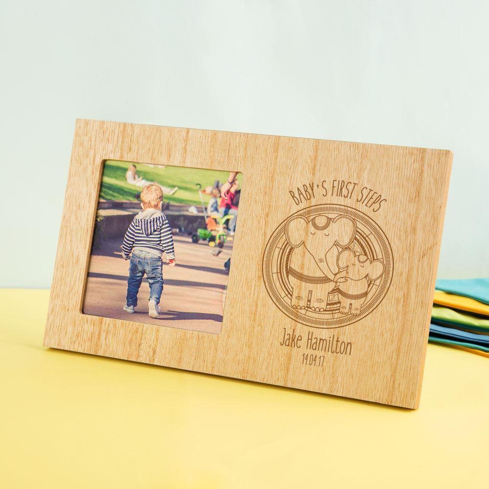 Customised Babys 1st Steps Wooden Photo Frame