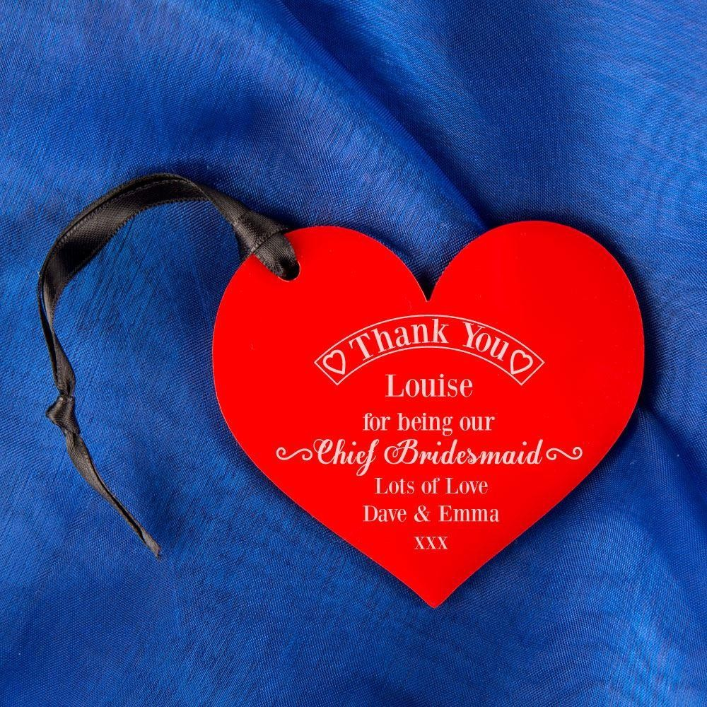 Chief Bridesmaid Thank You Keepsake Acrylic Heart