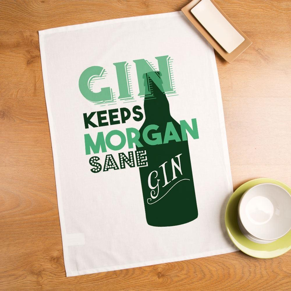 Gin Keeps You Sane Personalised Tea Towel
