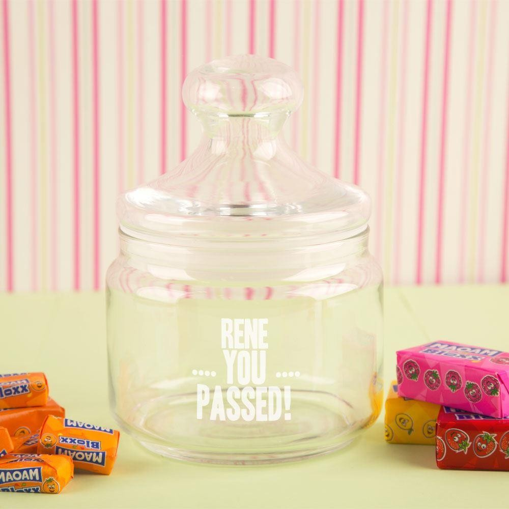 You Passed! Custom Glass Sweet Jar