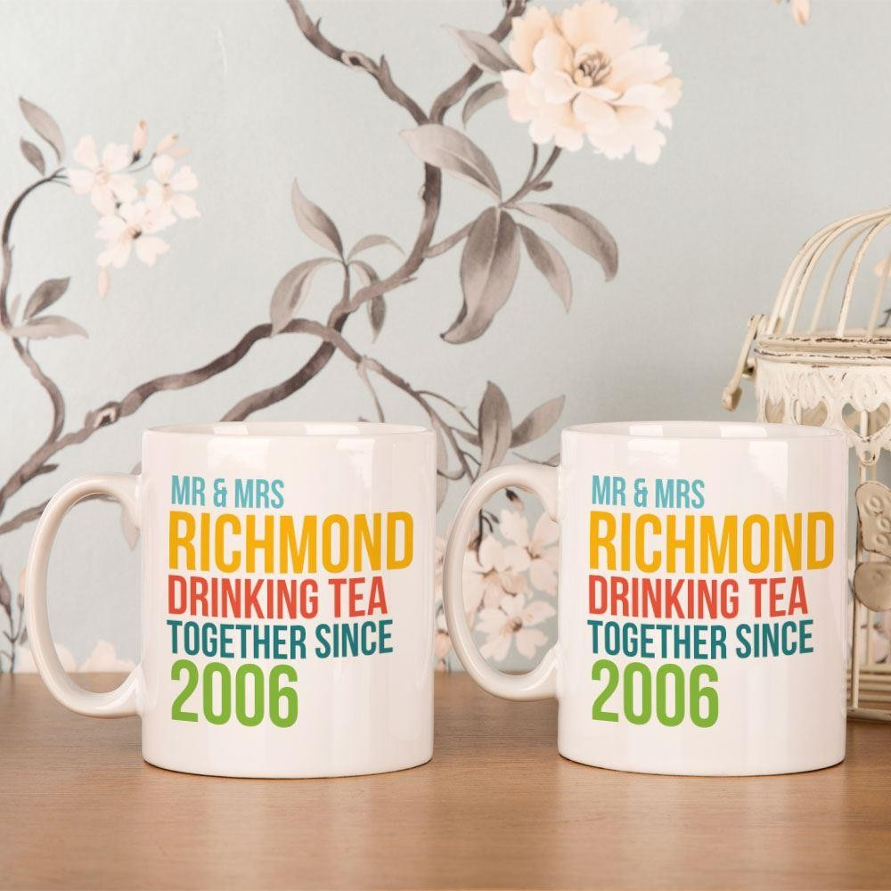 Mr & Mrs Drinking Together Since...Personalised Mug Set