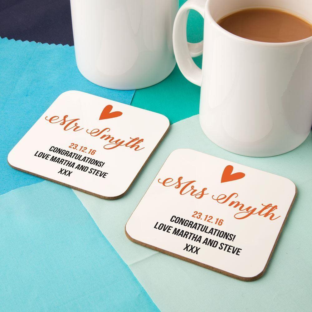 Bespoke Mr & Mrs Heart Double Coaster set