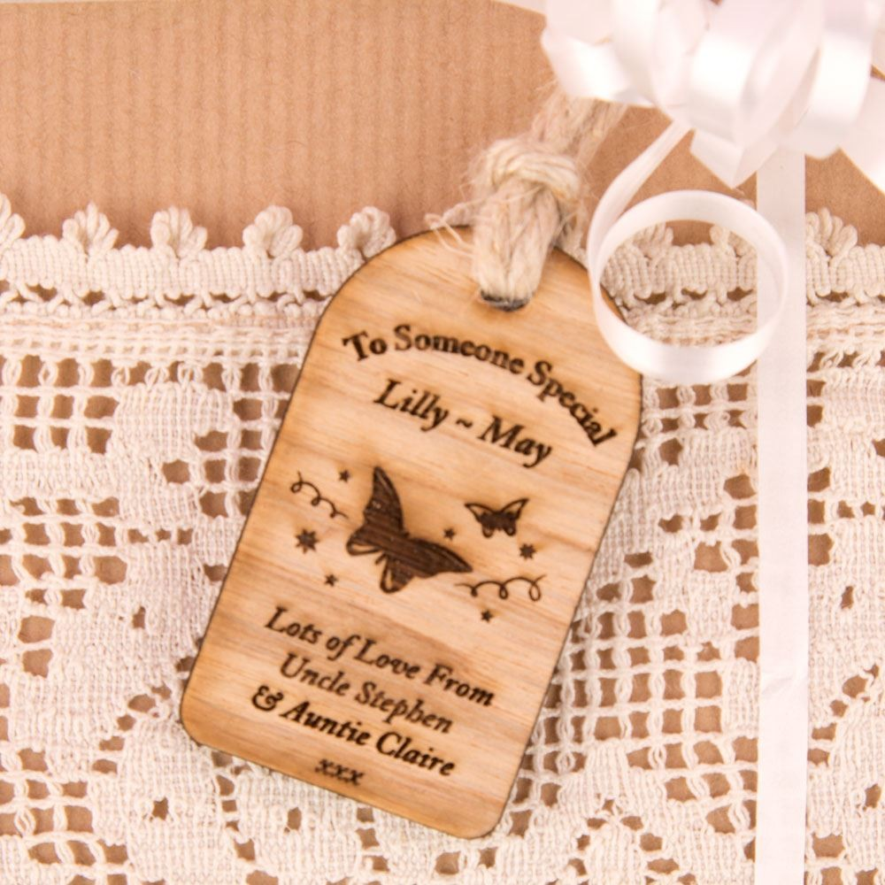 Wooden Butterfly Tag