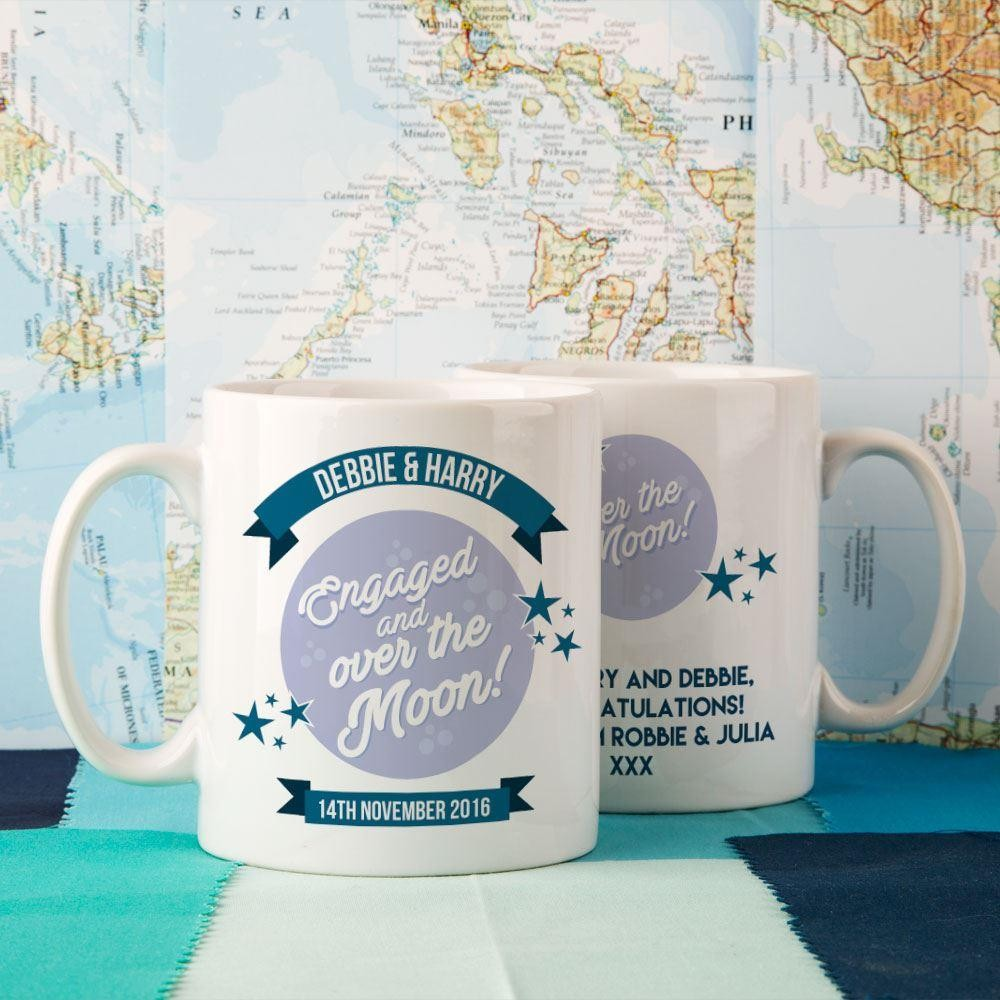Customised Engaged & Over the Moon Double Mug Set