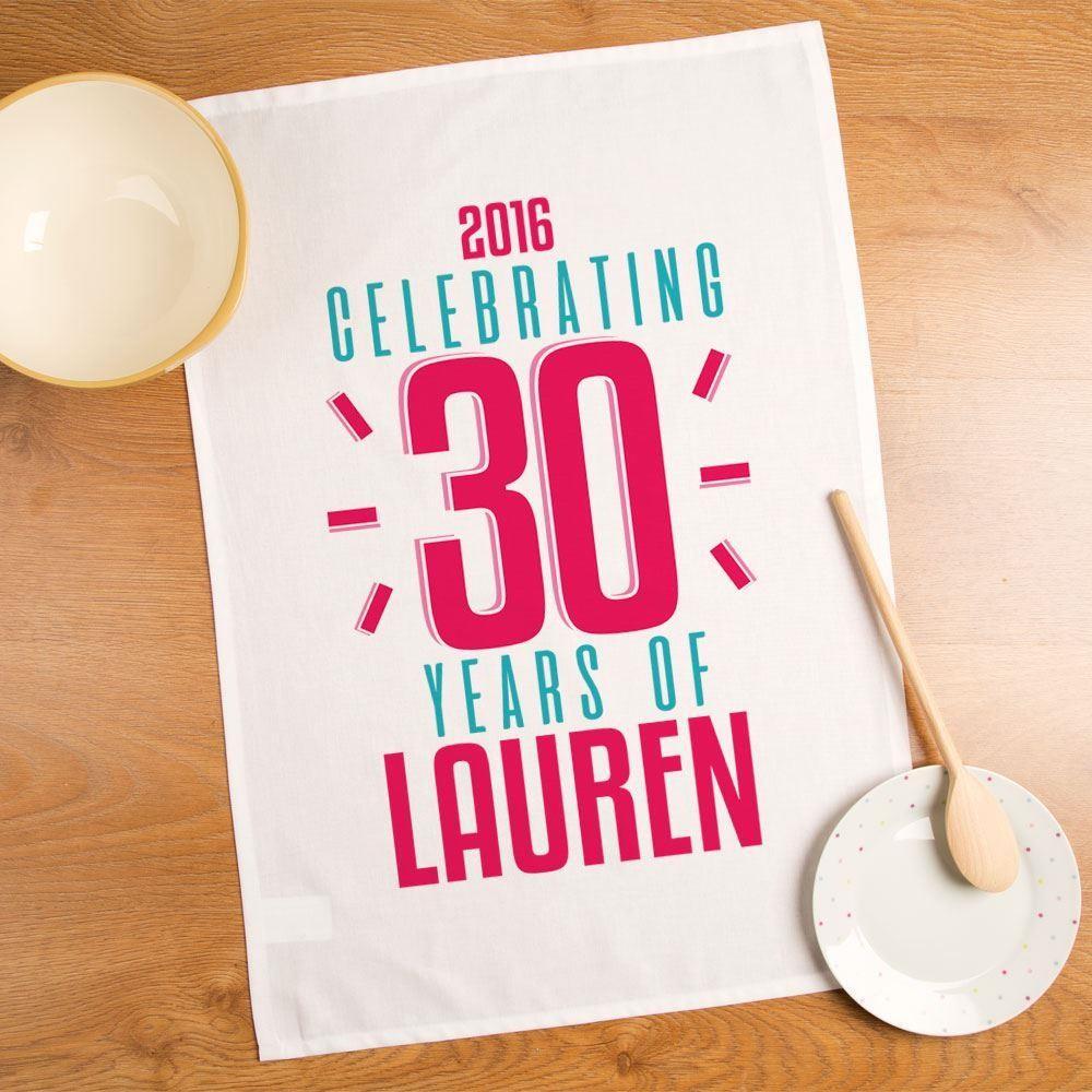 Customised 30 Years of Name Printed Tea Towel