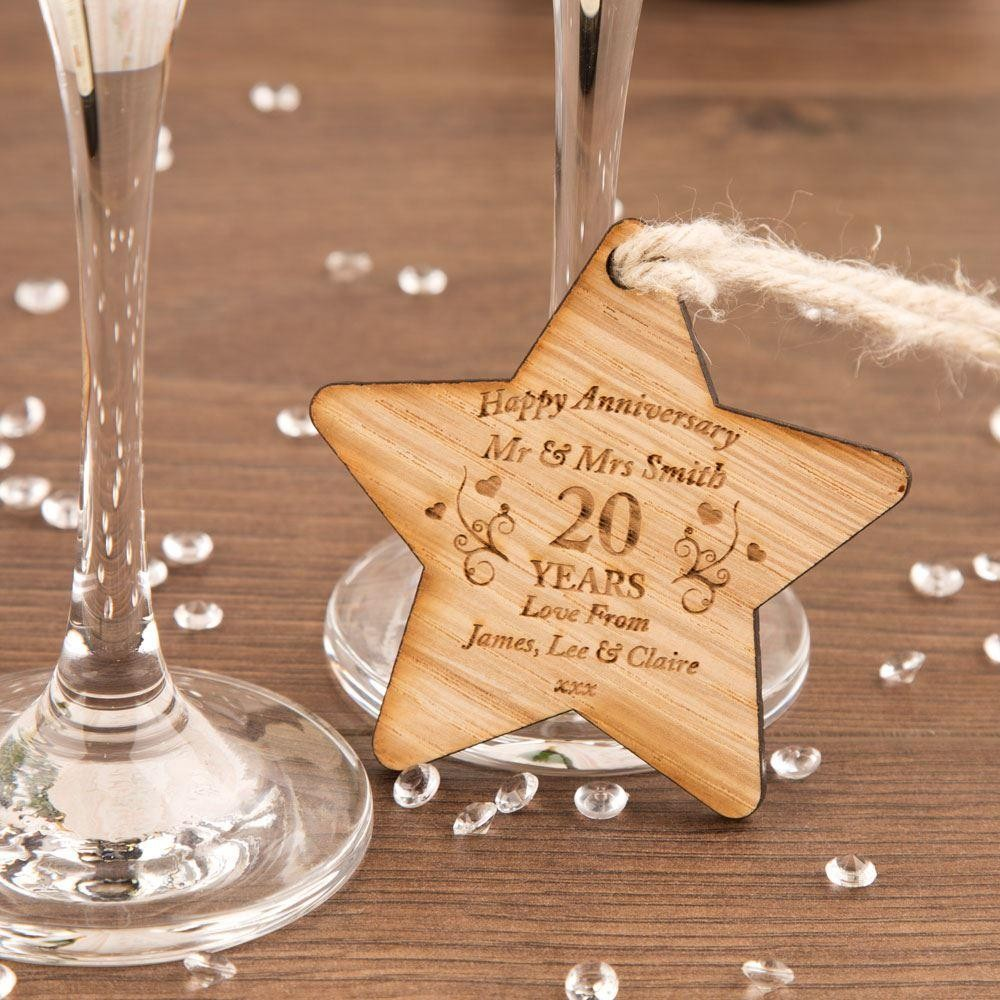 Personalised Anniversary Wooden Star
