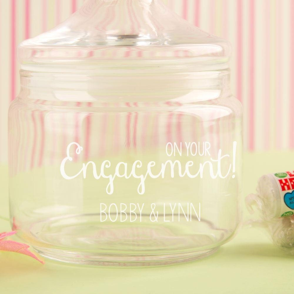 Engraved Engagement Glass Sweet Jar