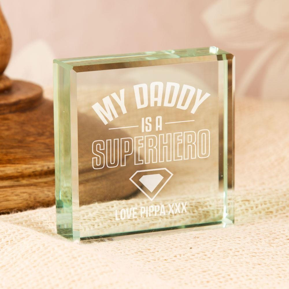 My Daddy is a Superhero Customised Glass Block