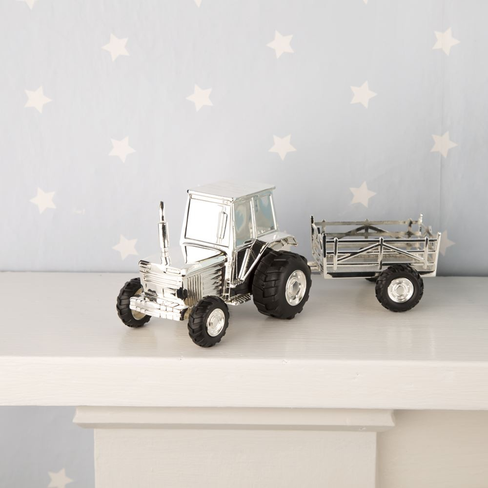 Silver Plated Tractor Trailer Money Box Forever Bespoke