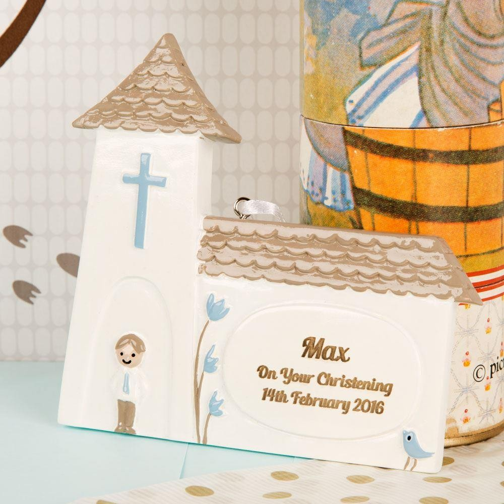 Personalised Blue Church Decoration: Christening