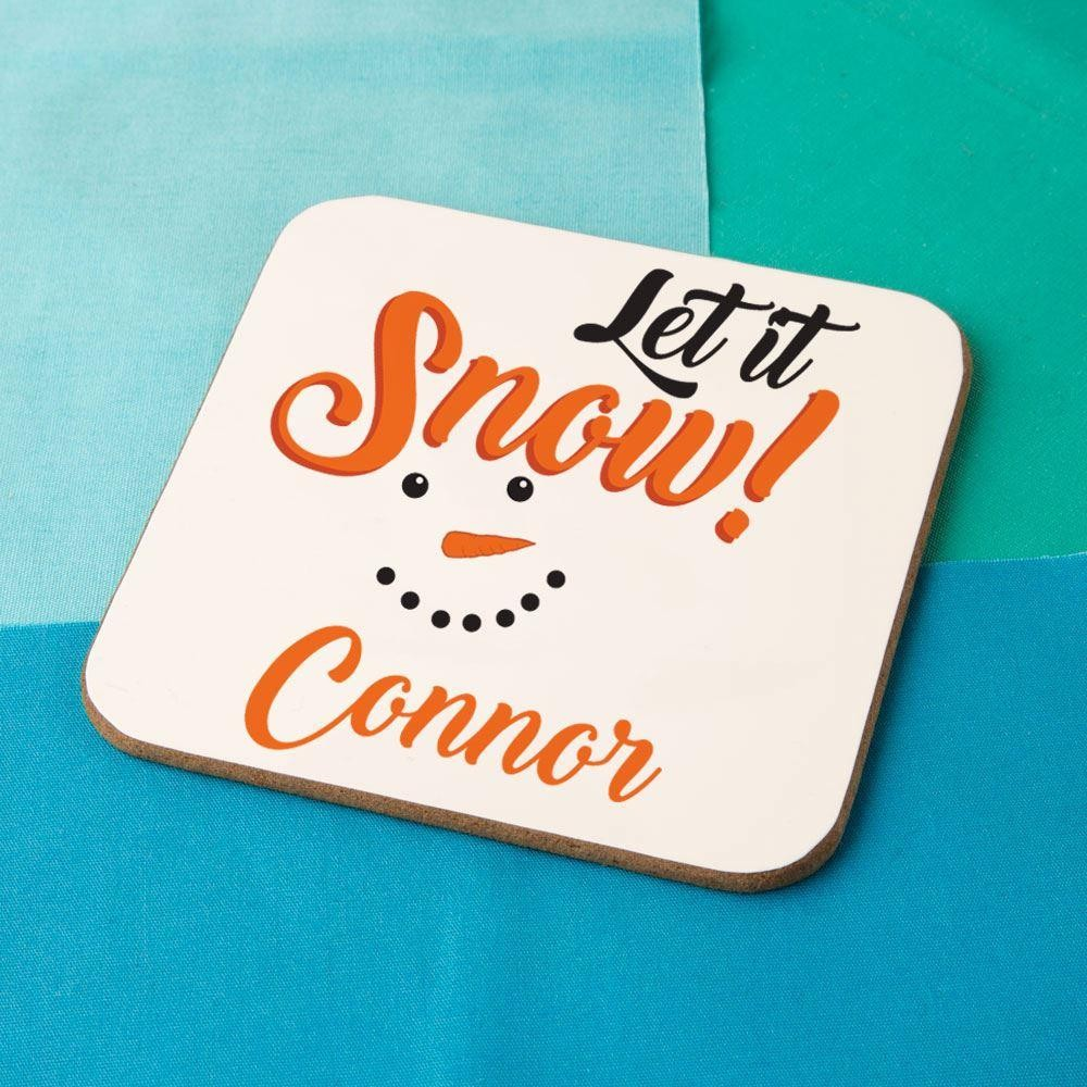 """""""Let it Snow"""" Personalised Snowman Coaster"""