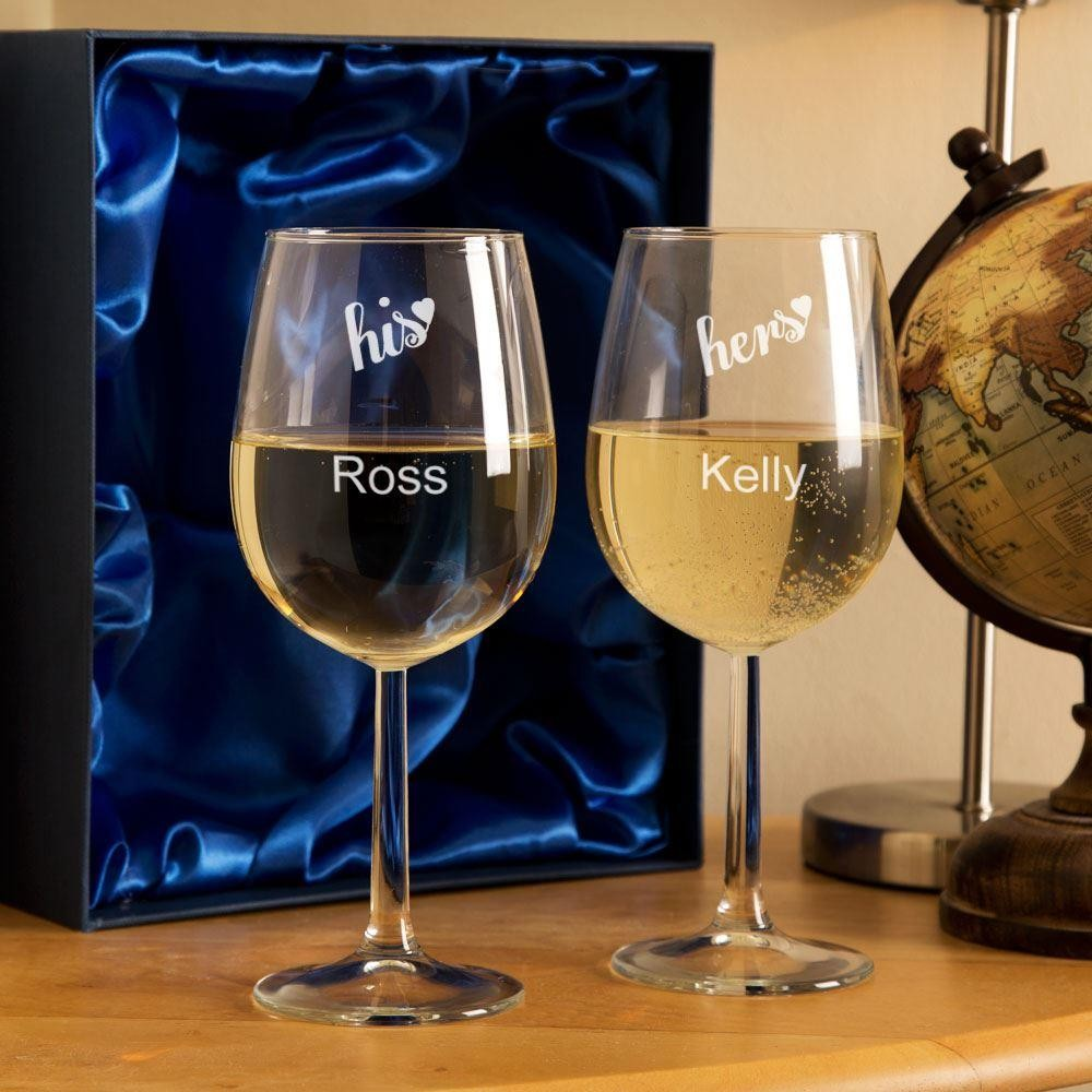 Personalised His and Hers Wine Glasses