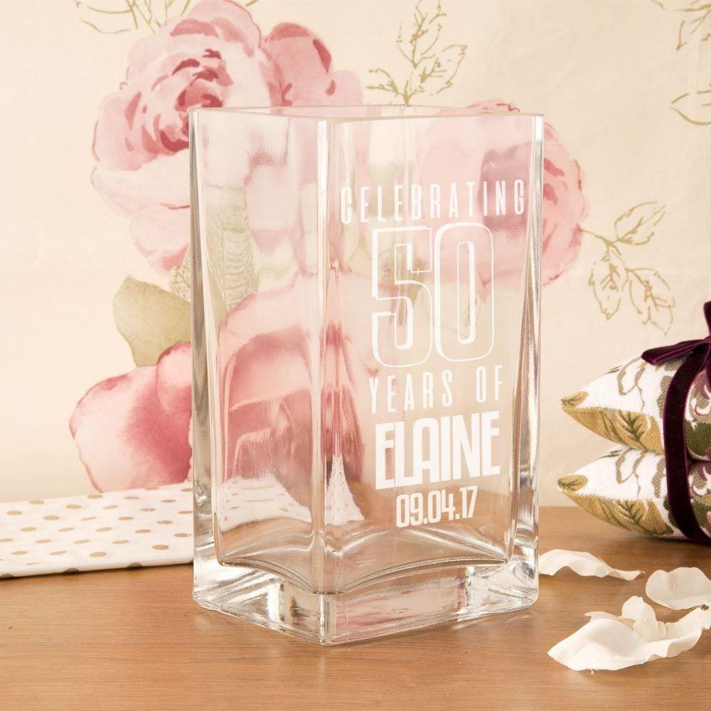 Personalised 50 Years of...Square Glass Vase