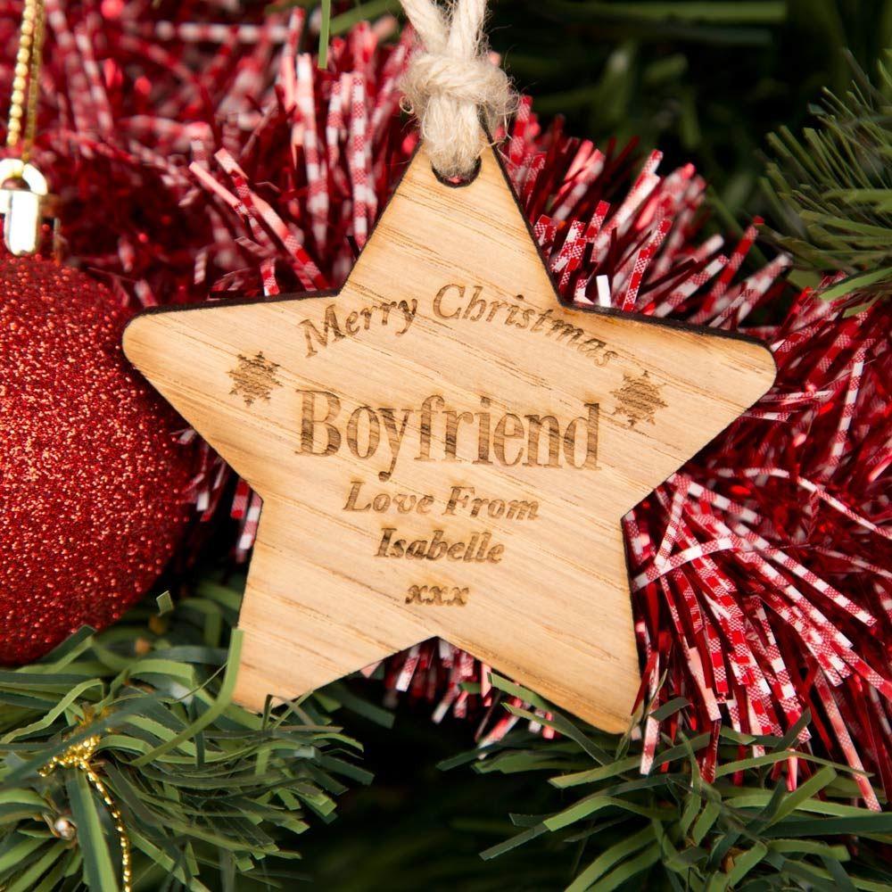 Personalised Boyfriend Wooden Christmas Star