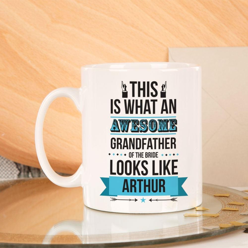 Personalised Awesome Grandfather of the Bride Mug