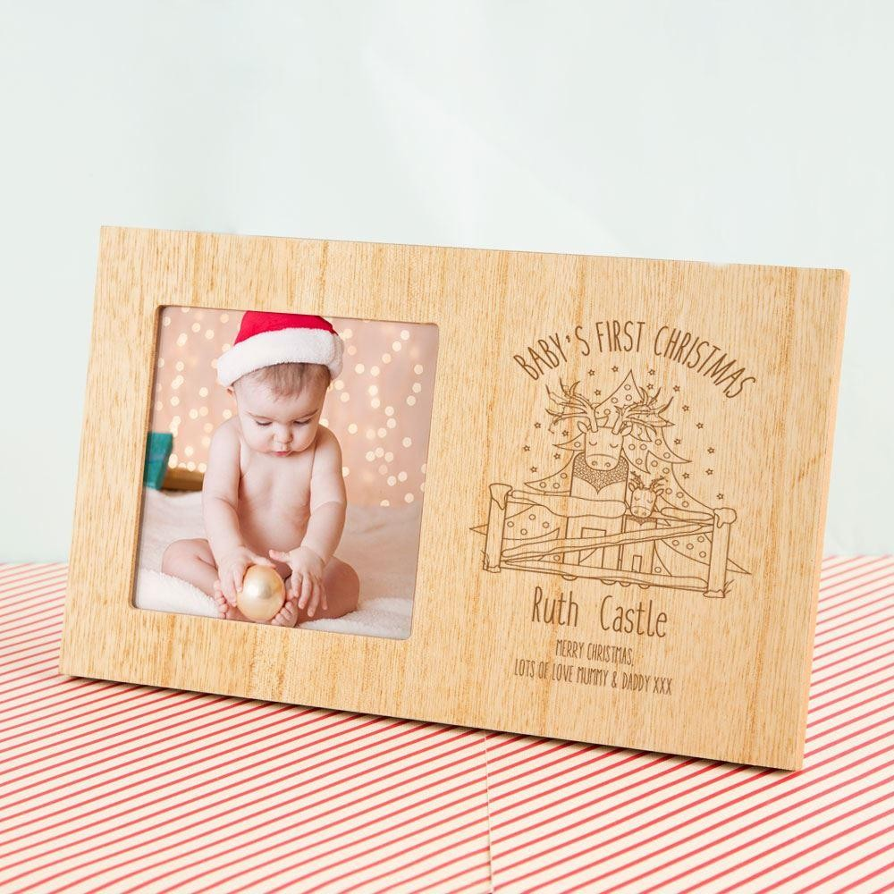Babys First Christmas Personalised Reindeer Photo Frame