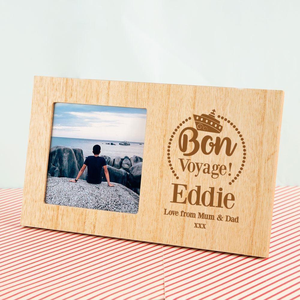 Customised Bon Voyage Wooden Photo Frame