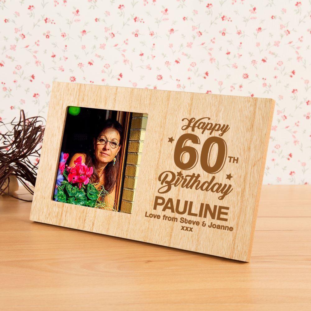60th Birthday Personalised Wood Photo Frame