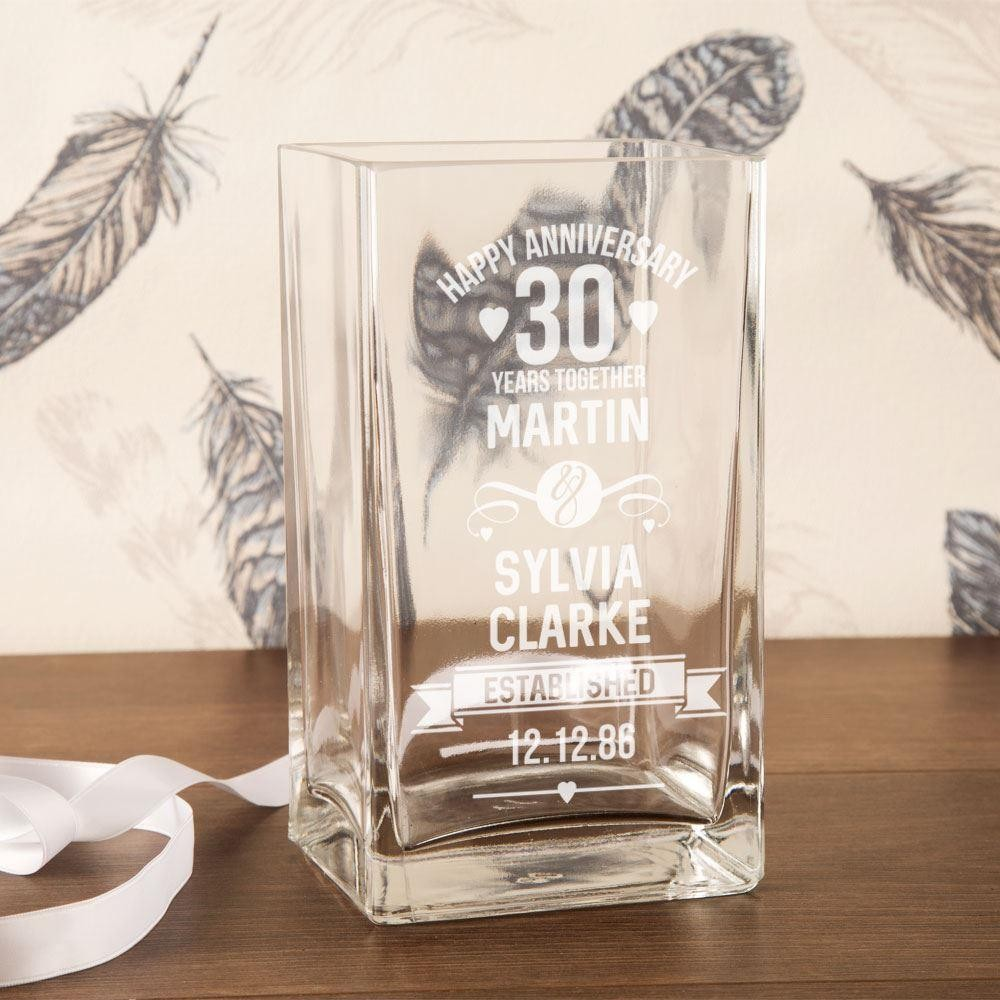 Personalised 30th Anniversary Engraved Glass Vase