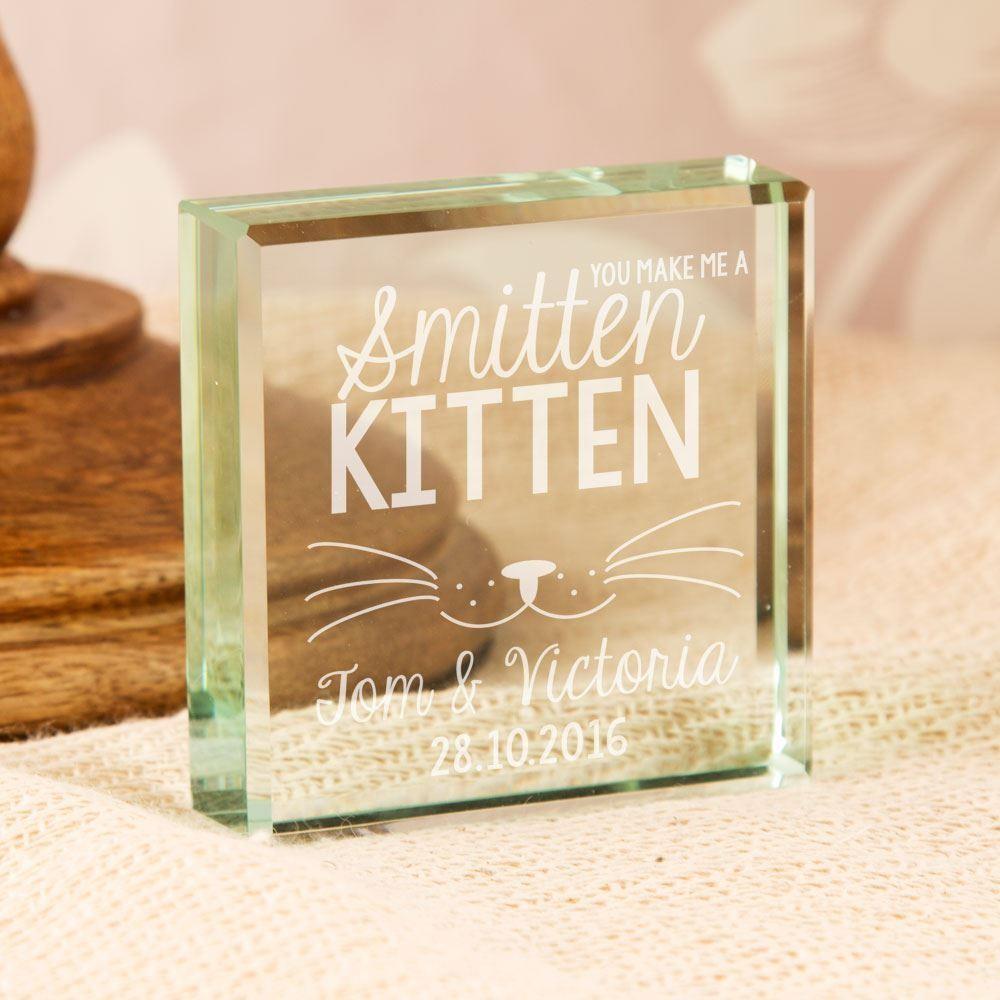 Bespoke Smitten Kitten Glass Block Ornament