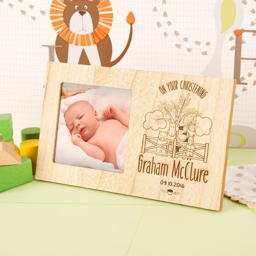 Farm Animals Wooden Christening Frame for Boy or Girl