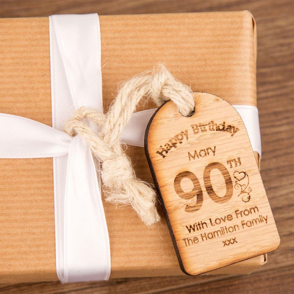 Personalised 90th Birthday Wooden Tag