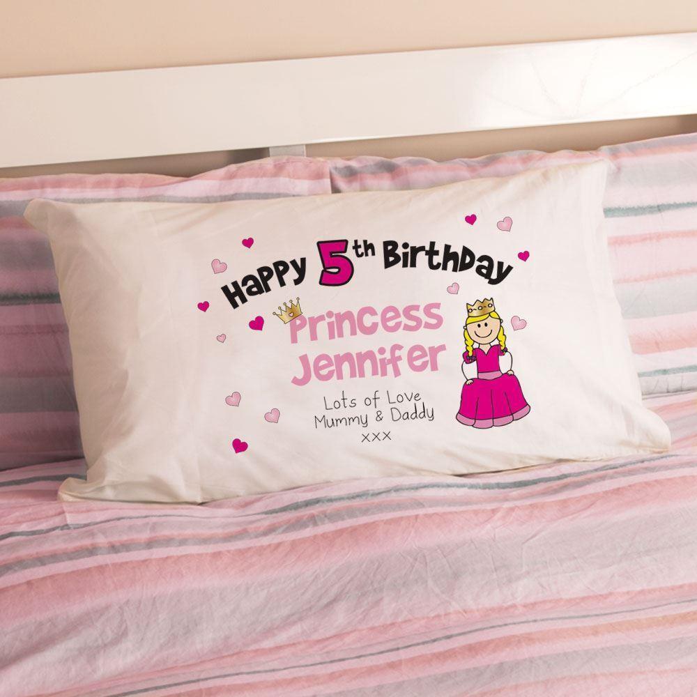 Personalised Girls Birthday Princess Pillowcase