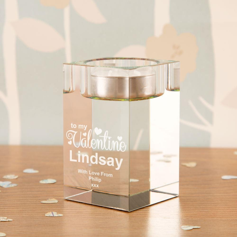 Personalised Valentine Glass Block Tealight Holder