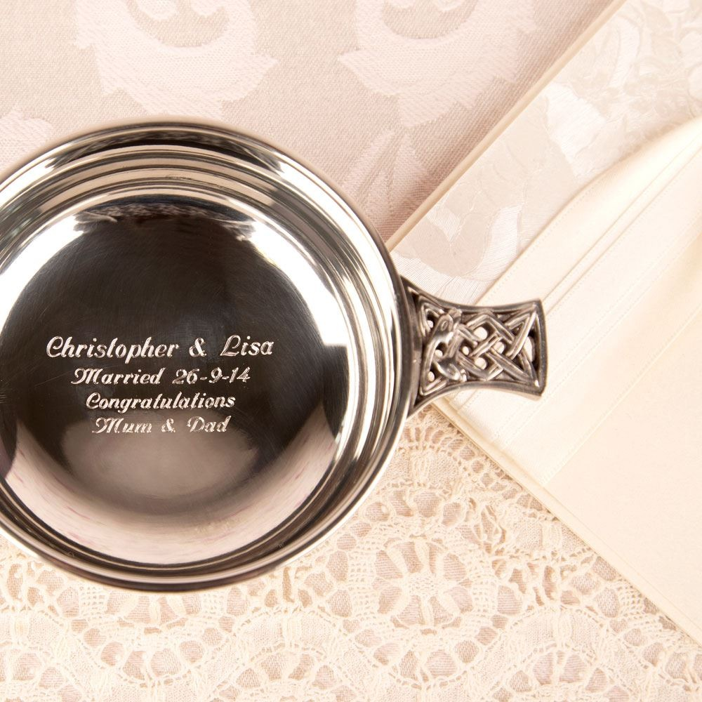 Personalised Pewter Quaich Bowl With Celtic Band /& Decorative Handles ENGRAVED