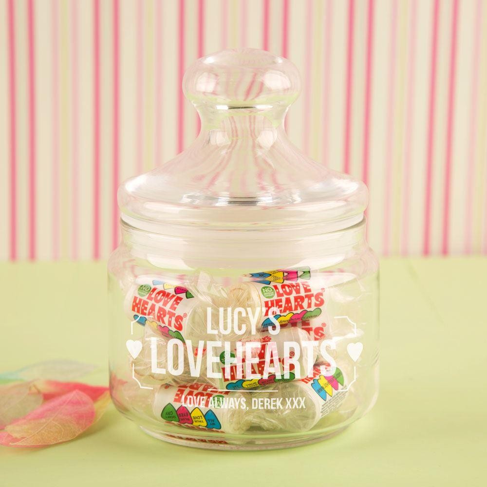 Customised Engraved Love Hearts Sweet Jar