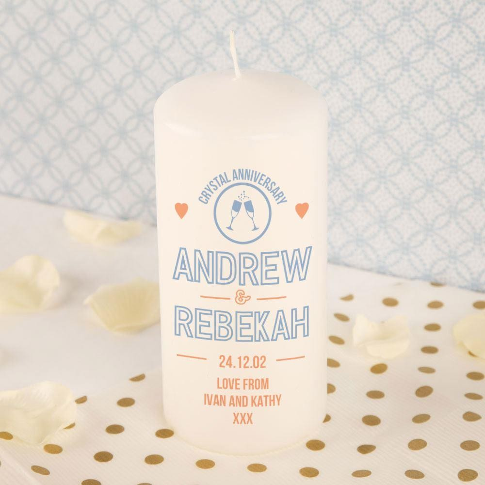Crystal Anniversary Personalised Block Candle