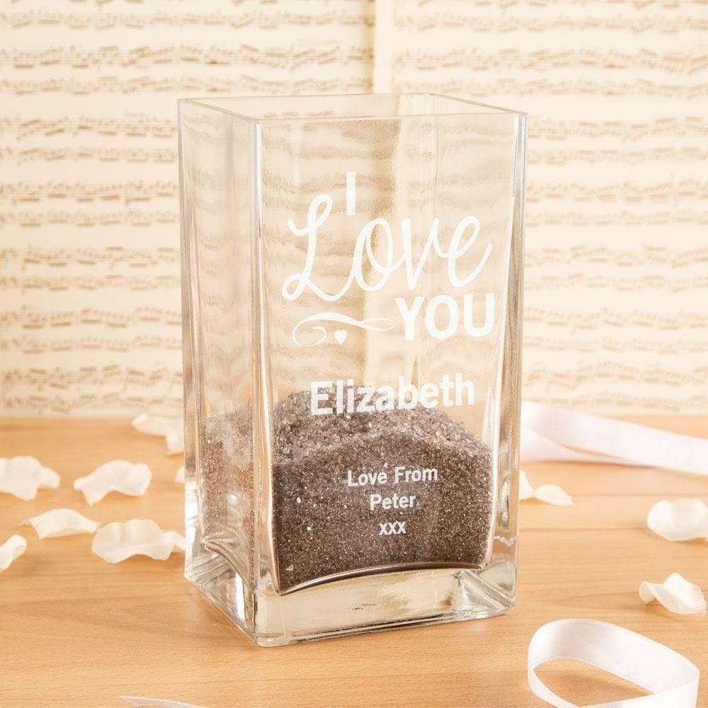 I Love You Customised Square Glass Vase