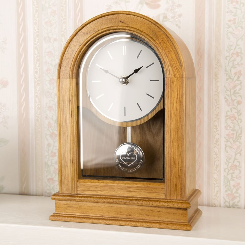 Wedding Anniversay Oak Domed Clock