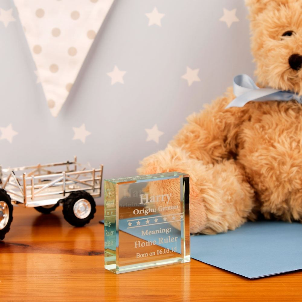Engraved Baby Glass Block: Stars