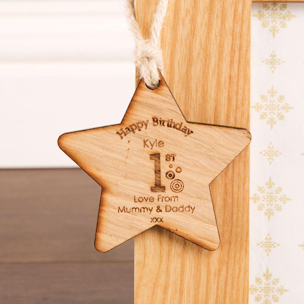 1st Birthday Wooden Star