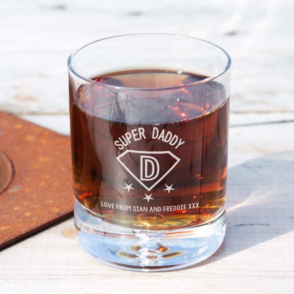 Personalised Super Daddy Tumbler Glass