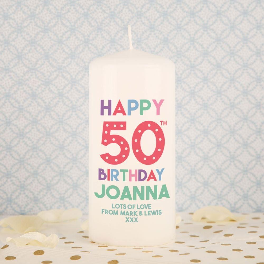 50th Birthday Customised Cute Pillar Candle Forever Bespoke